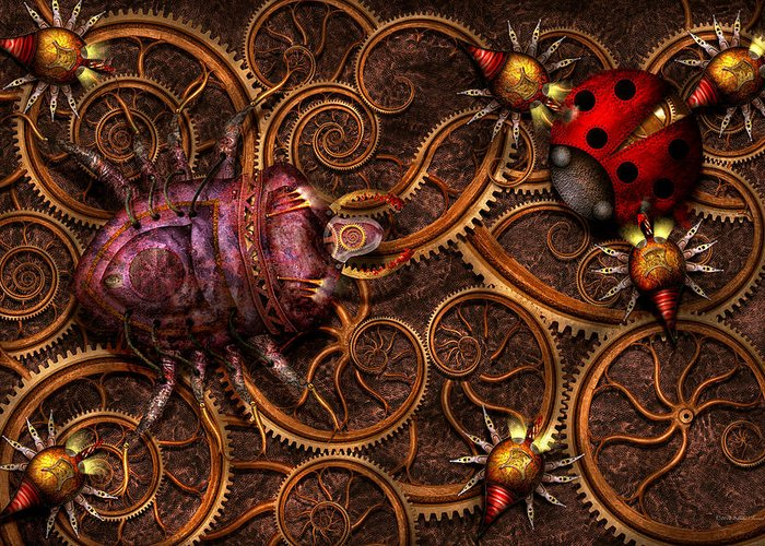 Self Greeting Card featuring the photograph Steampunk - Insect - Itsy Bitsy Spiders by Mike Savad