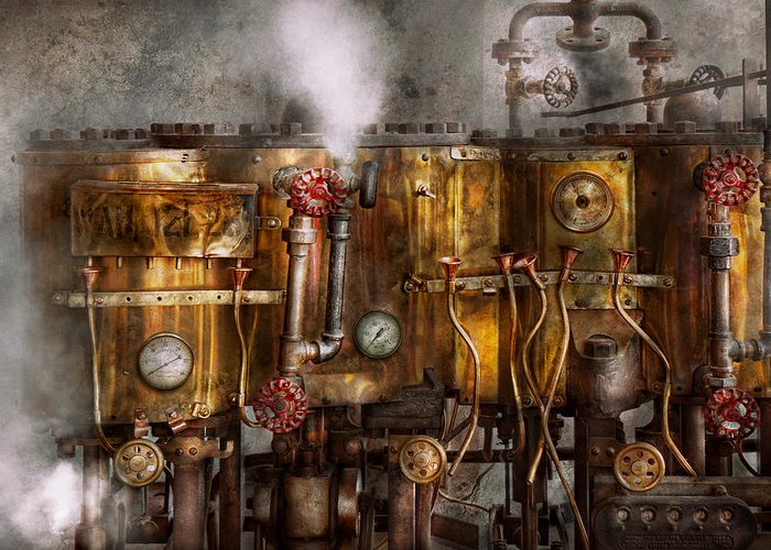 Steampunk Greeting Card featuring the photograph Steampunk - Plumbing - Distilation Apparatus by Mike Savad