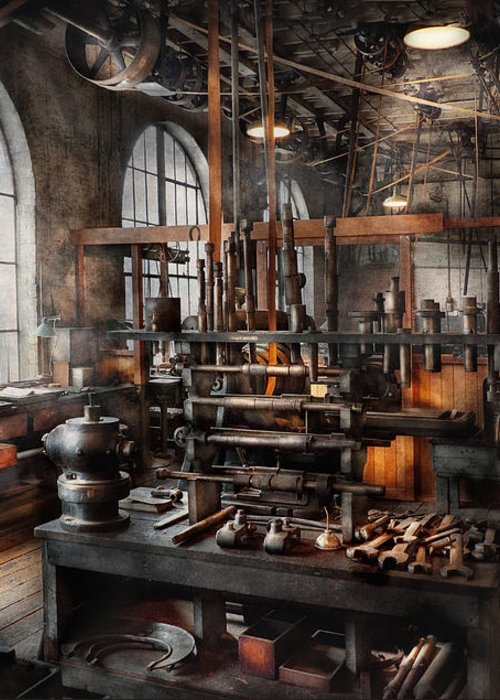 Steampunk Greeting Card featuring the photograph Steampunk - Room - Steampunk Studio by Mike Savad