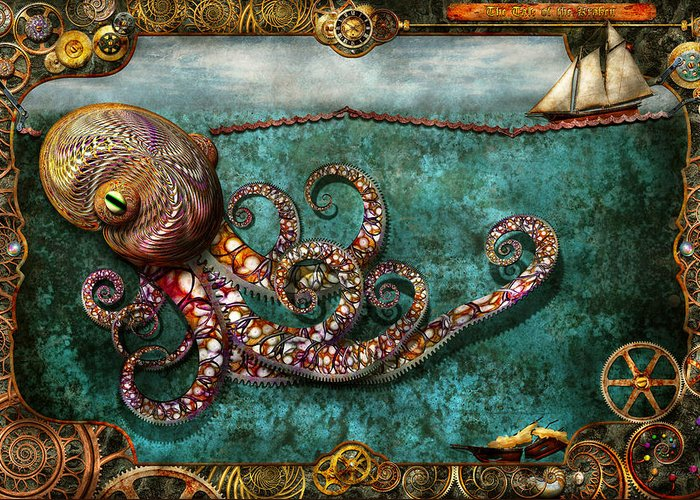 Self Greeting Card featuring the digital art Steampunk - The Tale Of The Kraken by Mike Savad