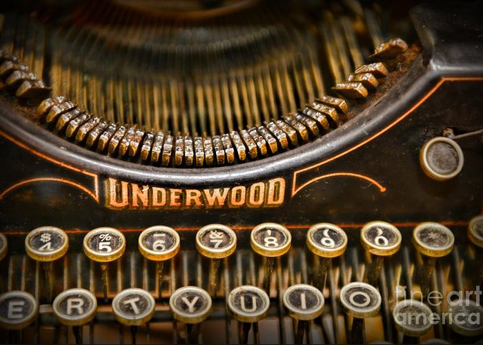 Paul Ward Greeting Card featuring the photograph Steampunk - Typewriter - Underwood by Paul Ward