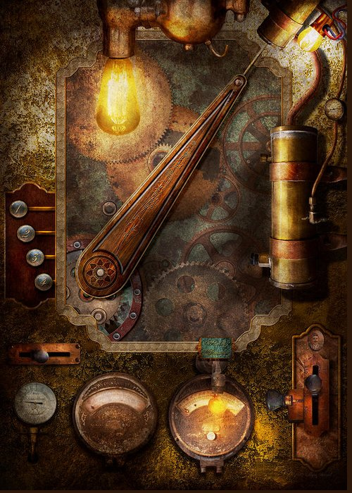 Hdr Greeting Card featuring the digital art Steampunk - Victorian Fuse Box by Mike Savad