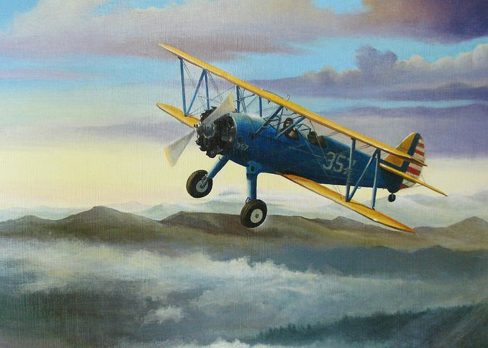Stearman Greeting Card featuring the painting Stearman Biplane by Stuart Swartz