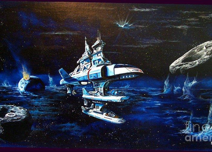 Alien Greeting Card featuring the painting Stellar Cruiser by Murphy Elliott