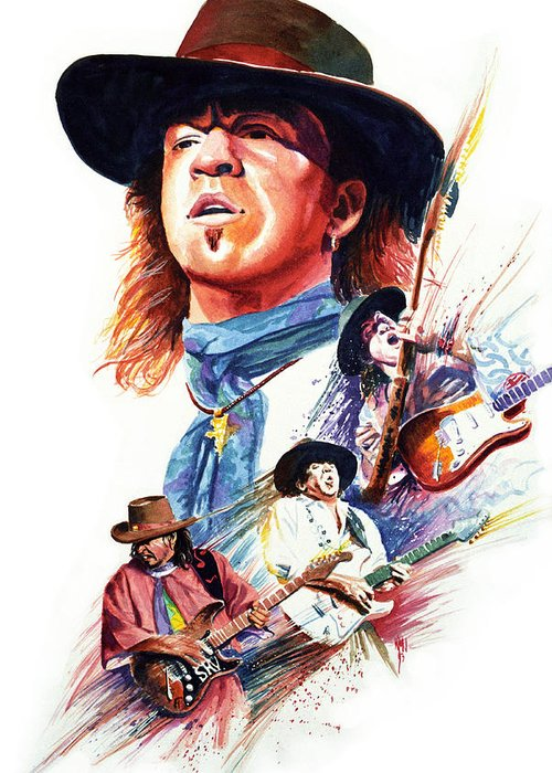 Guitarists Greeting Card featuring the painting Stevie Ray Vaughn by Ken Meyer jr