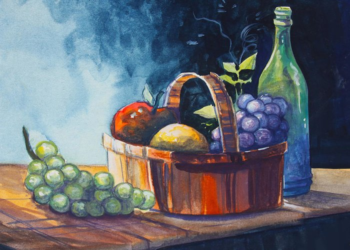 Still Life Greeting Card featuring the painting Still Life In Watercolours by Karon Melillo DeVega