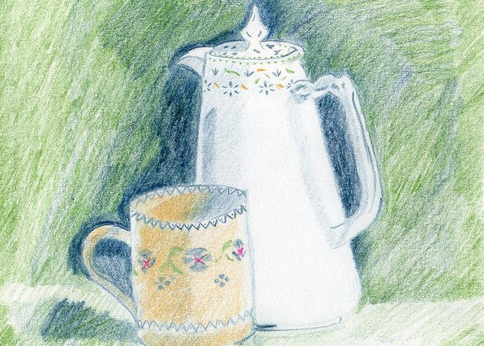 Patterned China Greeting Card featuring the drawing Still Life - Patterned China by Bav Patel