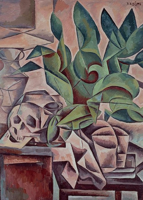 Art Greeting Card featuring the painting Still Life Showing Skull by Kubista Bohumil