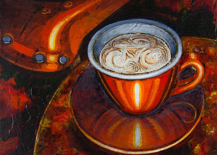 Coffee Greeting Card featuring the painting Still Life With Bicycle Saddle by Mark Howard Jones