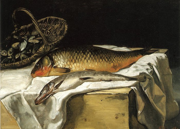 Frederic Bazille Greeting Card featuring the painting Still Life With Fish by Frederic Bazille
