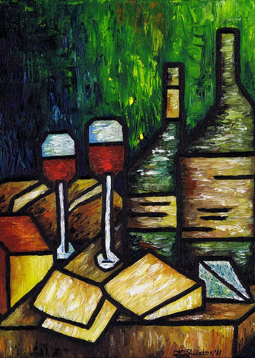 Still Life With Wine And Cheese Greeting Card featuring the painting Still Life With Wine And Cheese by Kamil Swiatek
