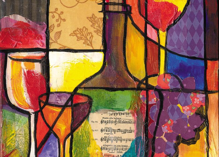 Everett Spruill Greeting Card featuring the mixed media Still Life With Wine And Fruit by Everett Spruill