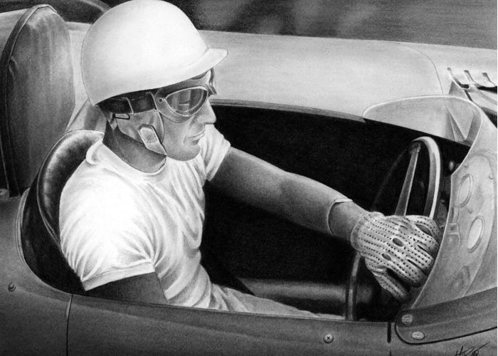 Stirling Moss Greeting Card featuring the drawing Stirling Performance by Lyle Brown