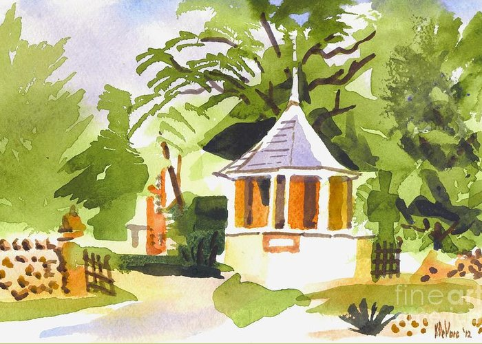 Stone Gazebo At The Maples Greeting Card featuring the painting Stone Gazebo At The Maples by Kip DeVore