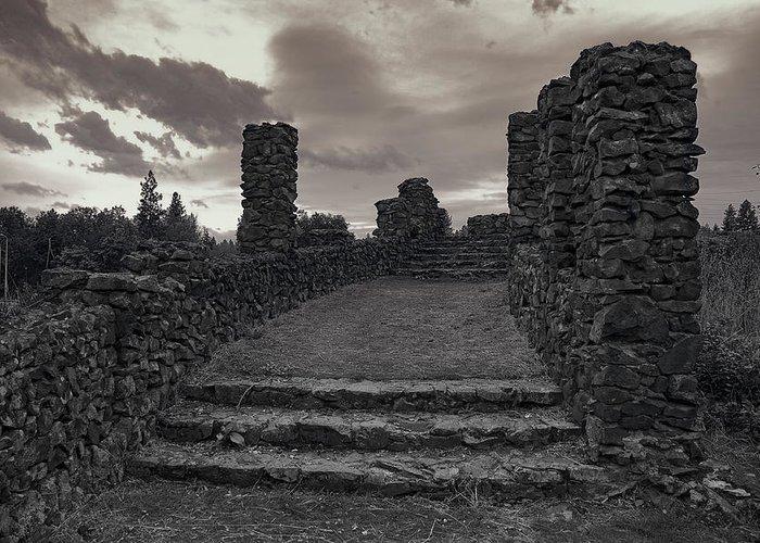 Spokane Greeting Card featuring the photograph Stone Ruins At Old Liberty Park - Spokane Washington by Daniel Hagerman