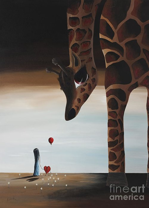 Giraffe Greeting Card featuring the painting Stop To Love By Shawna Erback by Shawna Erback