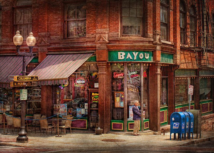 Pearl St Greeting Card featuring the photograph Store - Albany Ny - The Bayou by Mike Savad