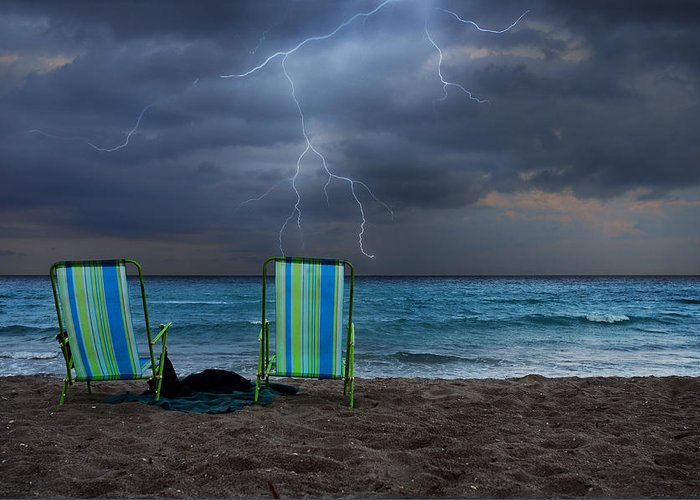Lightning Greeting Card featuring the photograph Storm Chairs by Laura Fasulo