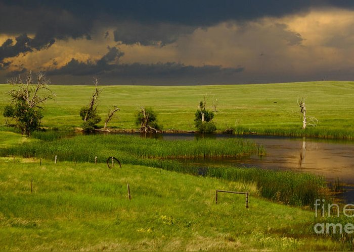 Barn Greeting Card featuring the photograph Storm Crossing Prairie 1 by Robert Frederick
