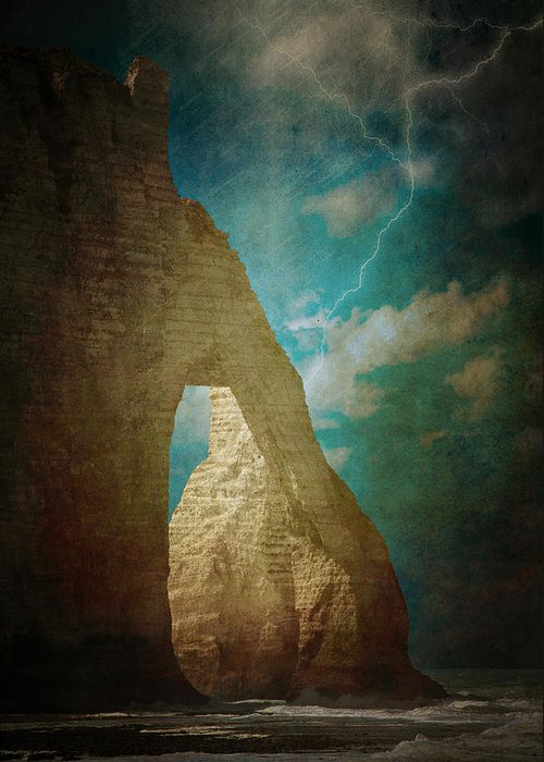 Loriental Greeting Card featuring the photograph Storm Over Etretat by Loriental Photography