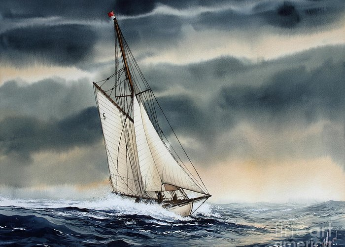 Storm Painting Greeting Card featuring the painting Storm Sailing by James Williamson