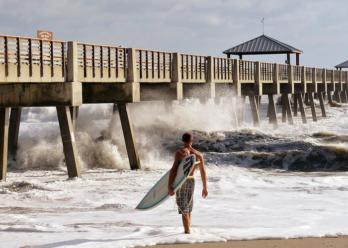 Surfer Greeting Card featuring the photograph Storm Surfer by Laura Fasulo