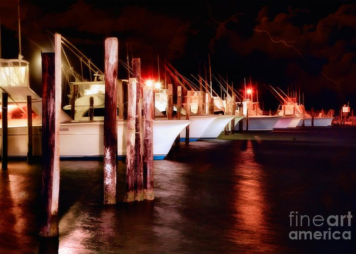 North Carolina Greeting Card featuring the painting Stormy Night In The Marina - Outer Banks by Dan Carmichael