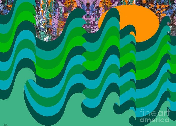 Landscapes Greeting Card featuring the painting Stormy Sea by Patrick J Murphy