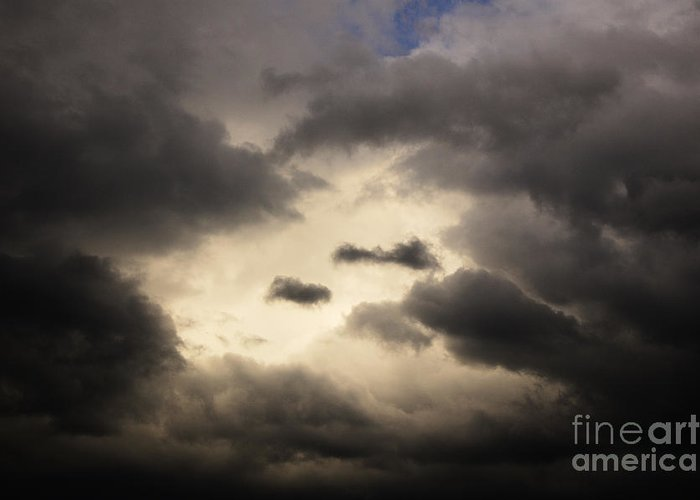 Black Greeting Card featuring the photograph Stormy Sky With A Bit Of Blue by Thomas R Fletcher
