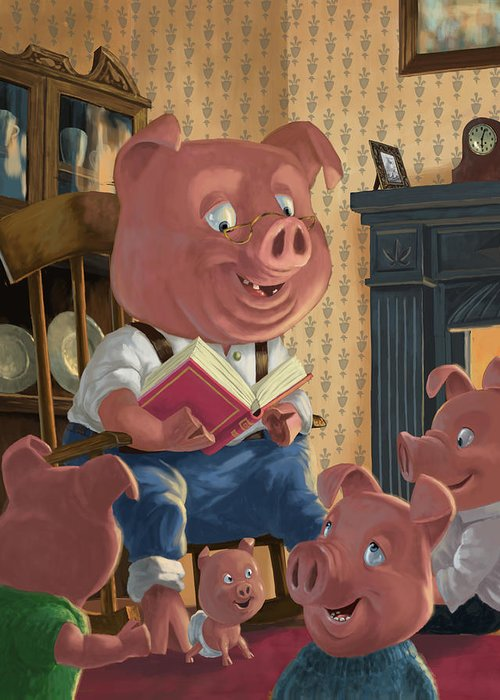 Story Telling Greeting Card featuring the painting Story Telling Pig With Family by Martin Davey