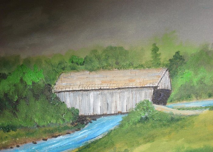The Old Stovall Covered Bridge Located In Nacoochee Ga Greeting Card featuring the mixed media Stovall Covered Bridge by Robert Reily