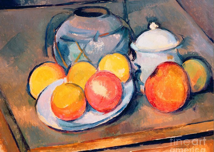 Still Life Greeting Card featuring the painting Straw Covered Vase Sugar Bowl And Apples by Paul Cezanne