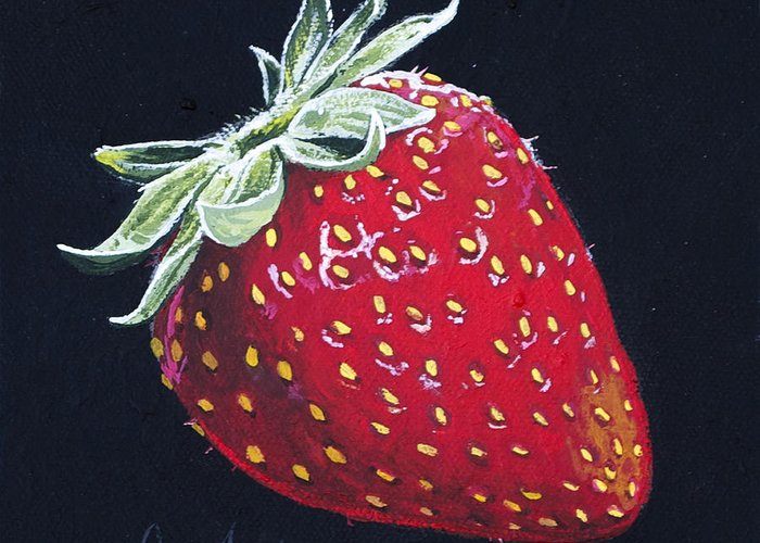 Strawberry Greeting Card featuring the painting Strawberry by Aaron Spong