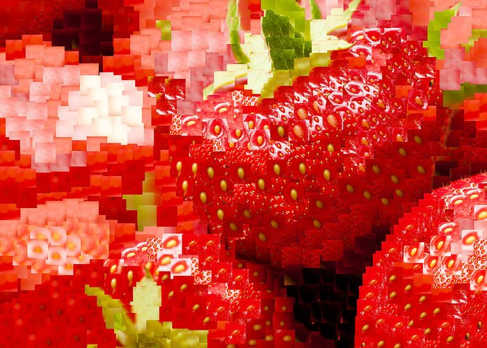 Ananassa Greeting Card featuring the photograph Strawberry Mosaic by Anne Gilbert