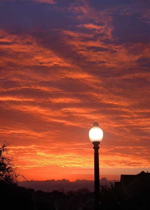 Streetlight Greeting Card featuring the photograph Streetlight Sunset Texas by Tony Ramos