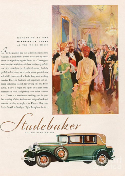 Adverts Greeting Card featuring the drawing Studebaker 1929 1920s Usa Cc Cars by The Advertising Archives