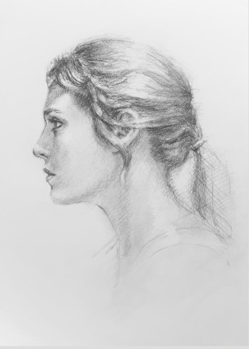 Figurative Greeting Card featuring the drawing Study In Profile by Sarah Parks