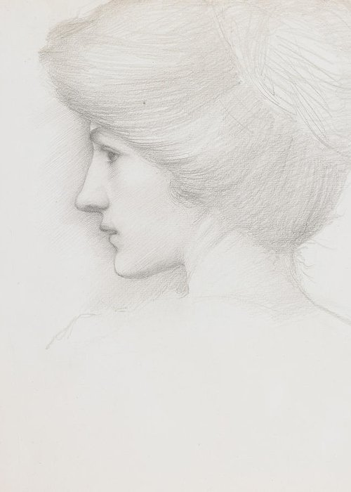 Sir Edward Coley Burne Jones Greeting Card featuring the drawing Study Of A Woman's Head Profile To Left by Sir Edward Coley Burne-Jones