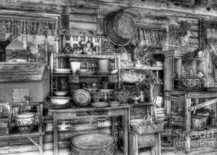 Stuff For Sale Greeting Card featuring the photograph Stuff For Sale Bw by Mel Steinhauer