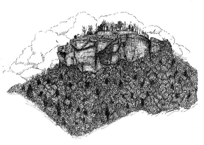 Pen Greeting Card featuring the drawing Sugar Loaf Mtn. Heber Springs Ar. by Lee Halbrook