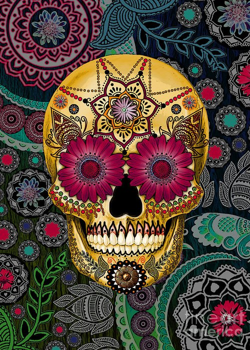 Sugar Skulls Greeting Card featuring the mixed media Sugar Skull Paisley Garden - Copyrighted by Christopher Beikmann