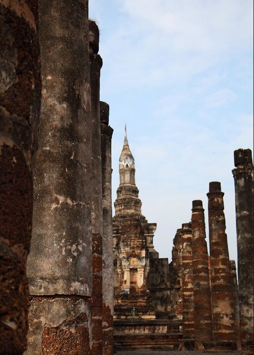 Sukhothai Greeting Card featuring the photograph Sukhothai Historical Park - Sukhothai Thailand - 011320 by DC Photographer