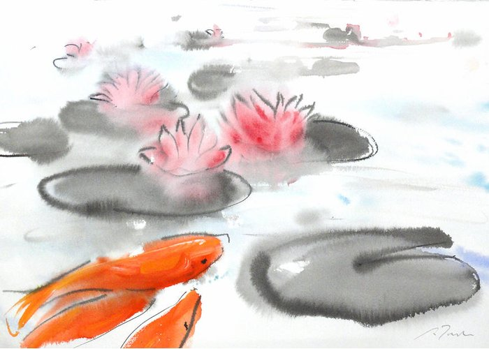 Woods Greeting Card featuring the painting Sumie No.11 Koi Fish And Lotus Flowers by Sumiyo Toribe