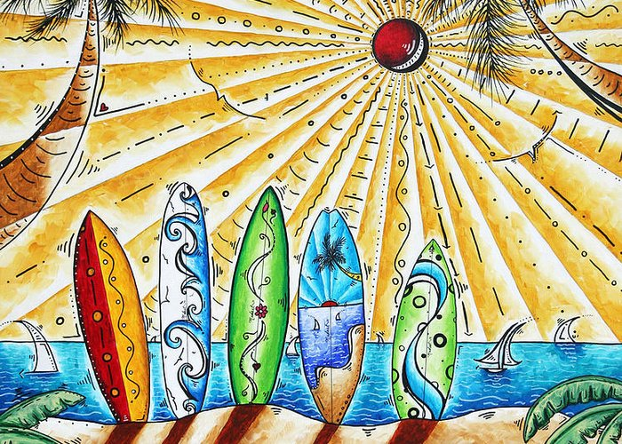 Tropical Greeting Card featuring the painting Summer Break By Madart by Megan Duncanson