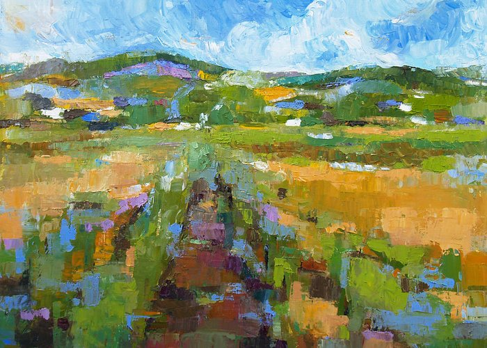 Oil Greeting Card featuring the painting Summer Field 1 by Becky Kim