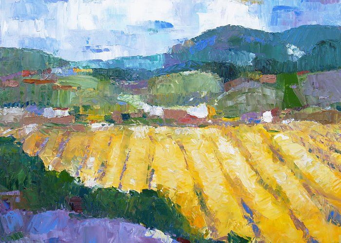 Oil Greeting Card featuring the painting Summer Field 2 by Becky Kim