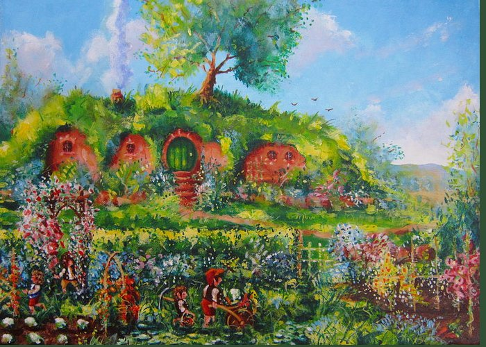Tolkien Greeting Card featuring the painting Summer In The Shire by Joe Gilronan