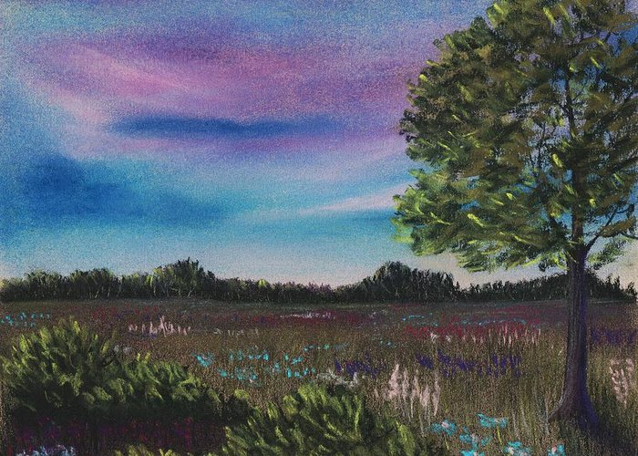Landscape Greeting Card featuring the painting Summer Meadow by Anastasiya Malakhova