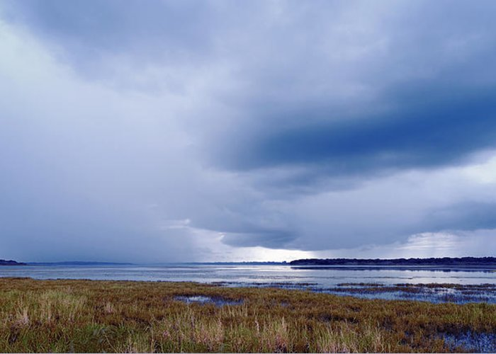 Storm Greeting Card featuring the photograph Summer Storm Over The Lake by Skip Nall
