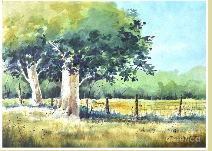 Watercolor Painting Of A Stand Of Trees In Summertime Next To A Fence Line Greeting Card featuring the painting Summer Trees by Rick Mock